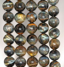 10MM BLUE TIGER EYE GEMSTONE GRADE AB ROUND LOOSE BEADS 15.5""