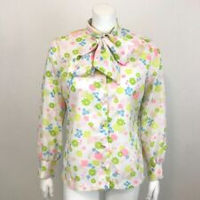 Vintage 60s Jane Holly Blouse Womens Size 16 Mod Floral Long Sleeve Tie at Neck