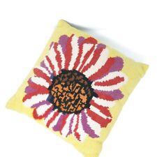 Vintage Throw Pillow Wool Needlework Oversized Flower