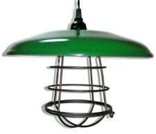 "Green Barn Light, Gas Station Light 12"" Metal Cage Ceiling Mount with Canopy"