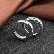 Fashion Women Stainless Steel Silver Wide Hoop Huggie Loop Ear Stud Earrings Hot