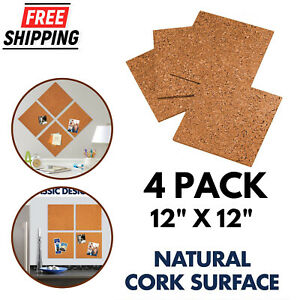 "Cork Tiles 12"" x 12"" Cork Board Wall in Message Notice Board DIY 4 Pack"