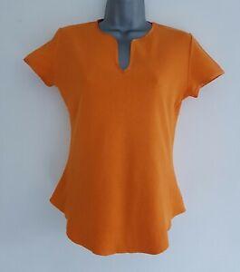 JOSEPH Women's Orange Trimmed Cap Sleeve V-Neck Cropped Top.Size 2, UK 10, US 6.