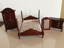 Dollhouse Miniature Furniture-Master Bedroom-4 Post Bed,Armoire,Dresser,Mirro r
