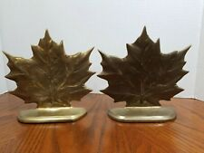 Vintage Brass Maple Leaf Bookends Made in Taiwan