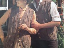 "Knitting Pattern Womens Mens Childs Cable Waistcoat Gilet 28-44"" Aran Vintage"
