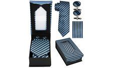 Designer Necktie + Cuff Link + Hanky Set - Classy BLUE STRIPES Wedding Birthday