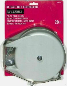 Everbilt Retractable Clothesline Hang Clothes Line 20 Ft Retracts Automatically