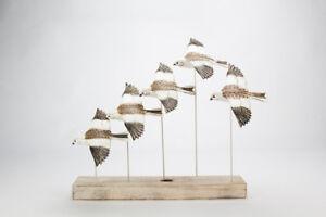 Archipelago Hand Carved Wooden Birds Snow Bunting Flock 60cm long