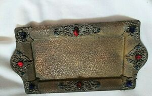 """Antique Jeweled 9"""" Vanity -Perfume-Pen Desk footed Tray Victorian Era or Art Nou"""