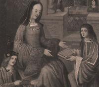 C1830 Georgiano Stampa ~ Louise De Savoie Duchesse D'Angouleme Con Lei Son
