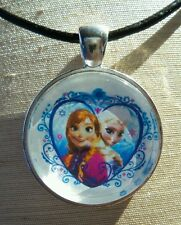 """""""FROZEN ANNA & ELSA"""" Glass Pendant with Leather Necklace"""
