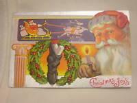 Vintage Christmas Postcard Santa Claus Embossed Christmas Joys