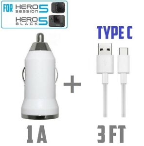 White Car charger with 3ft USB cable for GOPRO HERO BLACK 5, Session 5,Galaxy S8