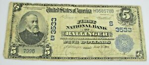 1902 Ballinger Texas National Currency 3533 $5 Five Dollar