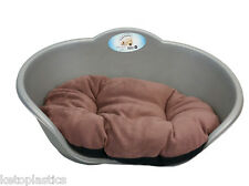 MEDIUM PLASTIC SILVER / GREY WITH BROWN CUSHION PET BED DOG/ CAT