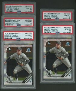 Investor Lot of (5) 2019 Bowman Chrome Andrew Vaughn No Ball RC Rookie PSA 10