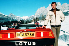 Roger Moore Posing With Red Convertable Lotus For Your Eyes Only 11x17 Poster