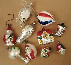 Vintage Christmas Tree Decorations - Santa, House etc