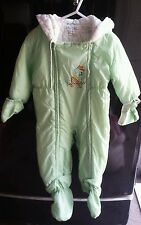 Baby Vintage Snowsuit Bunting 1970s Green Snow Infant Toddler - Up to 24 months