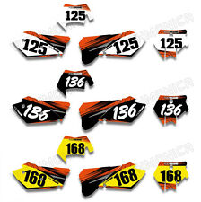 For KTM SXF MXC SX EXC 2005 2006 2007 Custom Background Number Plate Decals