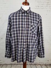 Vtg Brown Blue Plaid Check Flannel Shirt Skater Skater Grunge -XL- GY34