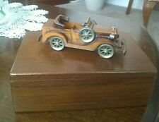 Vintage Wooden Box With Wooden Car On Top 1984 Cue Craft