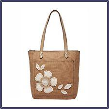 New Relic Marnie Tote Bag Canvas Neutral Beige Floral Applique #180922-520