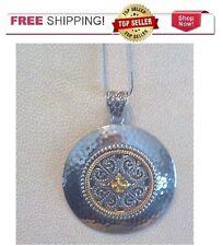 Sterling Silver Sunstone Celtic Hammered Medallion Round Necklace Pendant