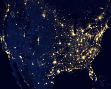 UNITED STATES OF AMERICA AT NIGHT TAKEN FROM SPACE USA 8x10 PHOTO NASA