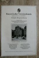 RW1) Werbung Regensburg 1927 Bayerische Vereinsbank Neupfarrplatz Anzeige