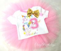 Rainbow Unicorn Pink Gold 3rd Third Birthday Girl Tutu Outfit Set Shirt sq