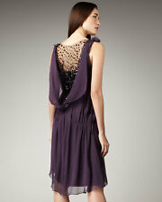 VERA WANG Women's Purple Contrast Black Beaded-back Dress