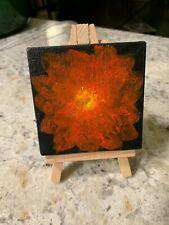 Original Signed Tiny Modern Folk Americana Art Flower Acrylic Painting W/Easel