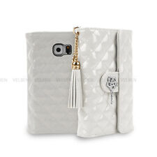Double Flip Clutch Bag leather wallet Tassel strap case for Galaxy iPhone LG