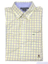 Tommy Hilfiger Men's Short Sleeve Button Up Shirt Yellow & Blue stripe pocket