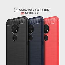 For Nokia 7.2 / 6.2 Luxury Shockproof Carbon Fiber Slim Rubber Phone Case Cover