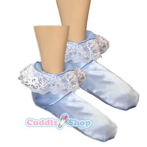 Cuddlz Adult Sized Blue Satin Frilly Booties