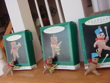 Lot of 3 MARCH OF THE TEDDY BEARS HALLMARK MINIATURE CHRISTMAS ORNAMENTS 1993-95