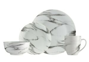 Dinnerware Set Marble 16-Piece for 4-Dish Set-Dinner Set Porcelain