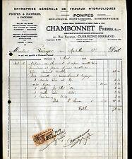 """CLERMONT-FERRAND (63) POMPES FONTAINES & MATERIEL de POMPIER """"CHAMBONNET"""" 1929"""