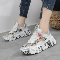Womens Lace Up Sneakers Sports Creeper Breathable Casual Shoes Casual Round Toe