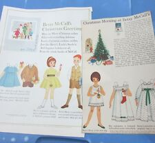 Betsy McCall Christmas Paper Dolls 1962 Christmas Greetings 1963 Original