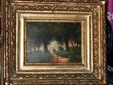 Tableau ancien huile sur bois signé N. Diaz style de Barbizon  et son cadre doré