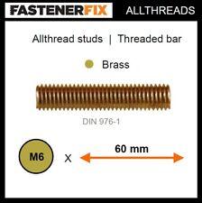 M6 x 60 mm allthread brass studs, threaded bar to DIN 976-1 (50 pack)