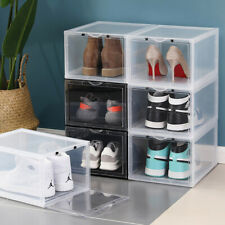 2x Sneaker Display Cases Shoe Organizer Drawer White Side Drop Crates Stackable