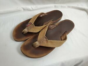 Rainbow Brown Tan Leather Flip Flop Thong Sandals Womens Size 7-7.5
