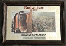 "Vintage Budweiser Great Kings Of Africa Bar Mirror Shaka Zulu 19""x 27"""