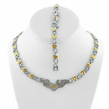 """STAINLESS STEEL I LOVE YOU 2 TONE HEART NECKLACE BRACELET SET XO STAMPATO 18"""""""