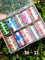 10 Holographic Nail Foils Foils Nail Art Transfer Sticker Set 100cm x 4cm (each)